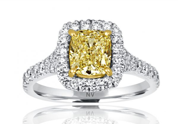 18ct White Gold Ladies Halo engagement ring set with 1x1.53ct Cushion shape Yellow diamond, GIA Certified Colour X, Clarity VS2 and 18=.54ct round brilliant cut diamonds.
