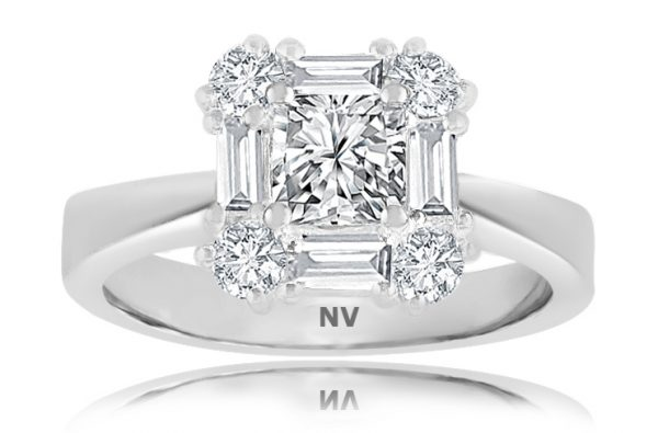 18ct White Gold Ladies Halo engagement ring set with 1x.70ct Princess cut Diamond, AUSCERT Certified Colour F, Clarity SI1, 4=.32ct Baguette and 4=.36ct round brilliant cut diamond