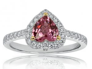 18ct white gold ladies ring set with 1x.96ct Pink Sapphire and 34=.35ct round brilliant cut diamonds.