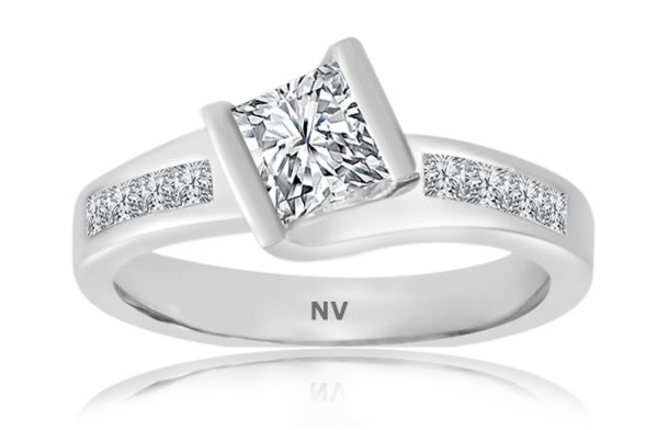 18ct white gold ladies engagement ring set with 1x.70ct Princess cut diamond, GIA Certified, Colour F, Clarity VS1 and 8=.31ct princess cut diamonds.