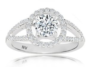 18ct White Gold Ladies Halo engagement ring set with 1x.71ct Round Brilliant cut Diamond, GIA Certified Colour E, Clarity SI2 and 58=.28ct round brilliant cut diamonds.