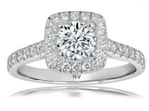18ct White Gold Ladies Halo engagement ring set with 1x.70ct Round Brilliant cut Diamond, GIA Certified Colour G, Clarity SI1 and 28=.20ct round brilliant cut diamonds.