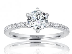 18ct White Gold Ladies engagement ring set with 1x1.05ct Radiant cut Diamond, GIA Certified Colour F, Clarity SI1 and 16 princess cut diamonds in channel settings