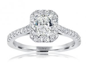 18ct White Gold Ladies Halo engagement ring set with 1x.65ct Radiant cut Diamond, GIA Certified Colour G, Clarity SI1 and 34=.36ct round brilliant cut diamonds.
